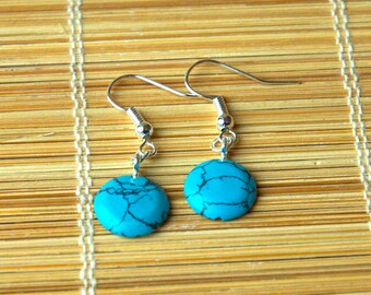 Beautiful Chinese Blue Turquoise Bead Earrings - December Birthstone Gift