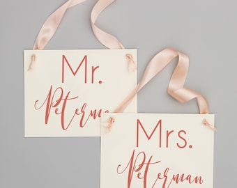 Mr. & Mrs. Last Name Custom Chair Signs | Set of 2 Hanging Wedding Signs Head Table Banners | Handmade USA Personalized Surname 1605 BW