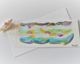 art card, hand painted card, abstract card, greeting card, gift card. acrylic, pastel, canvas card