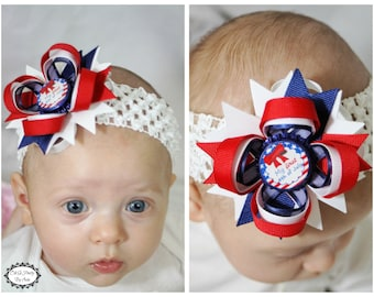 Babys First 4th of July Hair Bow - 4th Of July Headband - Red White Blue - Red Blue White Hair Bow - Newborn Hair Bow - Infant Headband