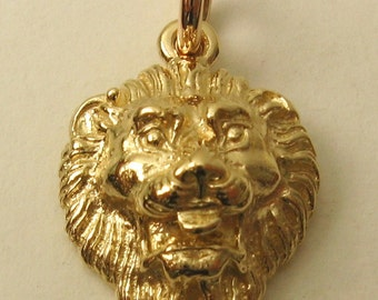 Genuine SOLID 9K 9ct YELLOW GOLD King Lion Head Pendant