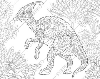 Hadrosaur Dinosaur Dino Coloring Pages Animal Book For Adults Instant Download Print