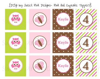 """Printable 2"""" Party Circles- Pink Owl Party Collection"""