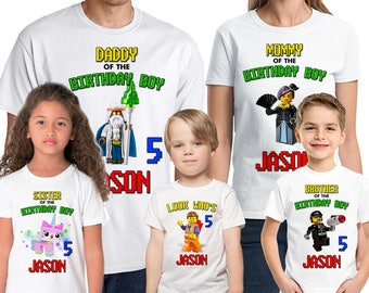 The Lego Movie Birthday Shirt Add Name & Age Lego Family Custom Birthday Party TShirt 01