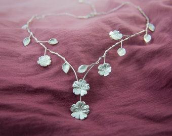 Art Nouveau Cascading Leaves and Primrose Flower Bridal Necklace in Sterling Silver, Adjustable