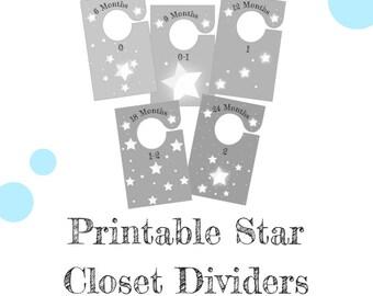 Printable Baby Closet Dividers - Stars // Pastel Color Nursery Decor // Premmie Baby Nursery Closet Dividers