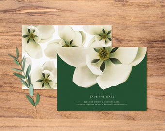 Modern Magnolia Save the Date Card