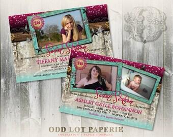 Rustic Sweet 16 Birthday Invitation, Sweet Sixteen Printable Invitation, Party Printable, Teen Birthday Invite, DIY Invitation, Photo Invite