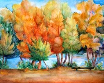 Autumn orange decor Autumn trees decor Bench and trees Abstract autumn trees Abstract autumn art Forest trees painting PaintingOnlineStore