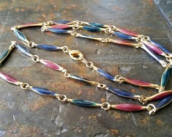 Vintage Gold Tone Enamel Link Necklace/Chain