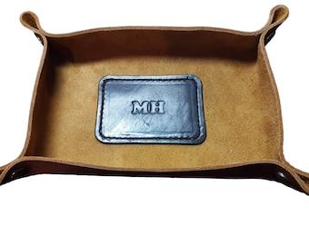 Leather Valet Tray Caddy Desk dresser Organizer Catch All