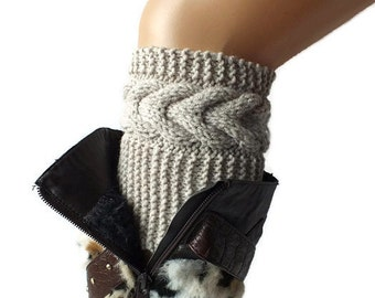 Boot Cuffs, Hand Knit Boot Cuffs Wool Yarn Choose Your Color And Size