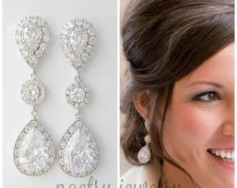 Crystal Wedding Earrings, Big Bridal Earrings, Large Teardrop CZ Earrings, Long Drop Earrings, Wedding Bridal Jewelry, Penelope
