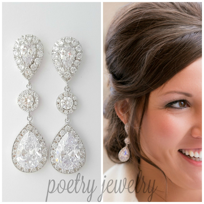 Crystal Wedding Earrings Big Bridal Earrings Large Teardrop