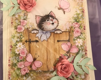 Cat and Butterfly Greeting Card