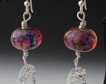 Amber Pink Purple Lampworking Sterling Silver Earrings
