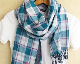 "Cotton scarf, Japanese fabric Plaid double gauze reversible shawl- turquoise blue, pink, and white check / smokey indigo  - 14"" wide"