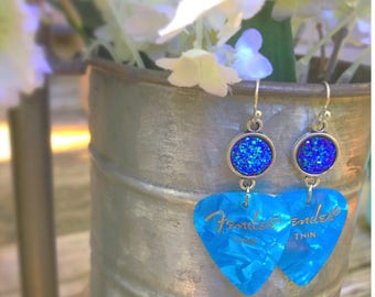 Fender Guitar Pick Earrings. Druzy Earrings.