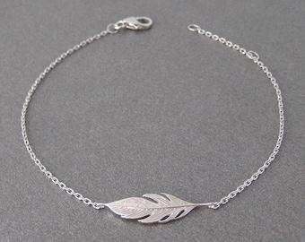 Bracelet Silver 925/1000th feather pattern