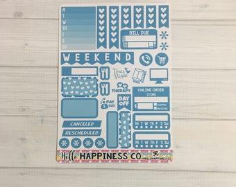Blue Functional Sampler - Weekly Kit  - Functional Stickers - Erin Condren Planner Stickers
