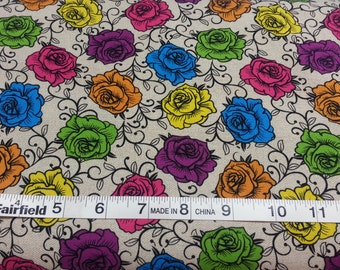 100% cotton Quilting fabric by the 1/2 yard Roses that match the  listing of skulls Dia de los muertos, cream color  multi color