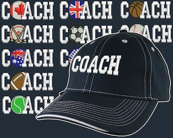 Custom Personalized Coach Embroidery on Adjustable Structured Navy and White Baseball Cap Front Decor Selection + Options for Side and Back
