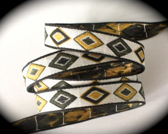 Vintage Woven Ribbon -  5/8 x 2 yards White/Natural Moss Green, Yellow Gold and Black