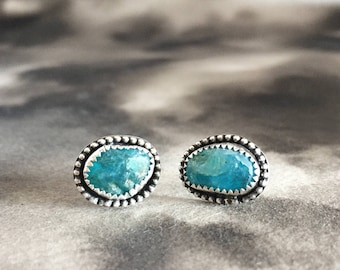 Apatite iceberg earrings, sterling silver studs, minimalist, everyday earrings, best friend gift, dainty jewelry, aqua, raw stone earrings,