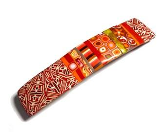 XL, Barrette cheveux, cheveux Clip pour cheveux épais, barrette à cheveux en argile polymère rouge Orange, idée de cadeau Saint-Valentin à la main d'artisan pour femme de la grande taille