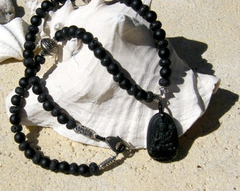 Buddha Necklace - 24 inch with lava beads