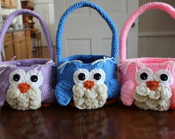 Crocheted Personalized Owl Easter Baskets/ Easter Baskets/ Personalized