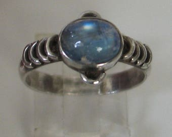 SALE Vintage Size 7  1/2  sterling and labradorite ring
