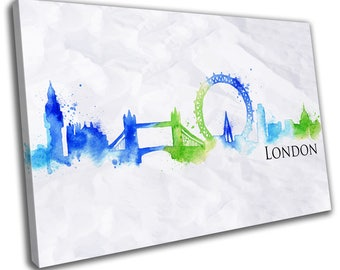 Watercolour London Skyline Cityscape Canvas Print Home Decor- Abstract Wall Art - Modern Prints - Ready To Hang