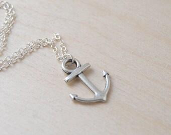 Ahoy Silver Anchor Necklace   Cute Nautical Charm Necklace   Silver Anchor Pendant