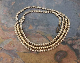 Vintage rhinestone and faux pearl choker/collar necklace-vintage costume jewelry-adjustable necklace-formal jewelry-mid century accessories