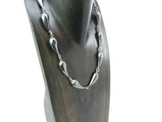 "Vintage Mexican Sterling Silver Teardrop Necklace. Heavy 1.71 oz 18""Long"