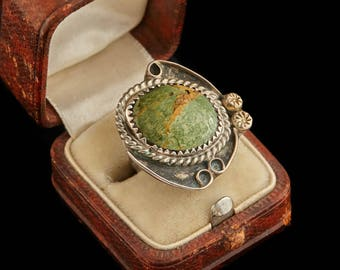 Antique Native Navajo Pawn Sterling Silver Cripple Creek Turquoise Ring Sz 3.75 | Vintage | 5.6 Grams | Marble | Blossom | Old Dead | M