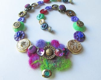 Button Necklace, Felt and Buttons, Mixed Media Jewelry, Textile Necklace, Boho Jewelry, Fiber Jewelry, Needle Felted, Purple & Green, Floral