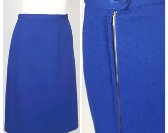 Vintage 70's Skirt Pencil Fitted High Waist Navy Textured Polyester UK12 EU38