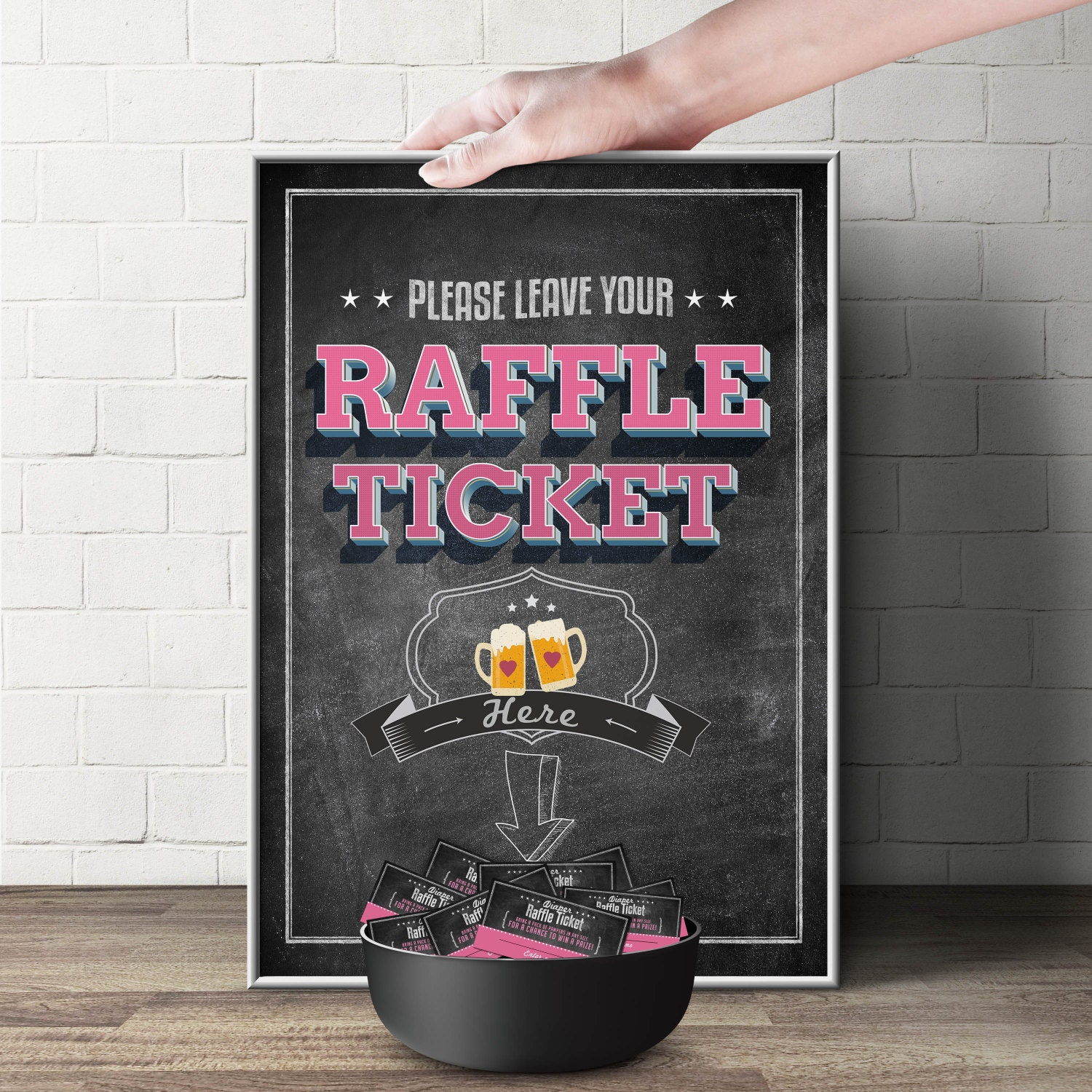 diaper raffle sign baby is brewing printable file