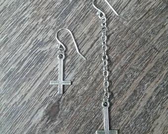 Asymmetrical Contrasting Length Long & Short Inverted Cross Earrings