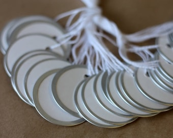 "50 metal rimmed circle tags, 1 7/8"" round paper tags with metal rim, inventory tags, lable tags"