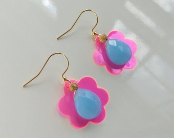 Neon Pink Flower Earrings with Milky Blue Crystals. Gift for her.