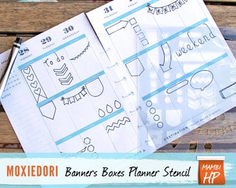 """MAMBI Banners and Task Boxes Stencil, Fits Happy Planner, Journal Stencil 5.25"""" by 8"""""""