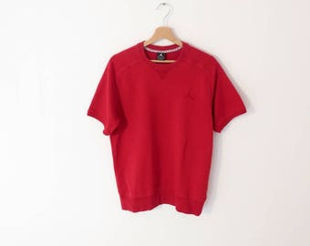 NIKE AIR JORDAN Red Cotton Blend Rare Thick T-shirt Sweater, size M