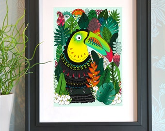 Jungle Toucan Art Print - Limited Edition Giclee Fine Art Print - Tropical Jungle - Island Paradise - Rainbow Toucan - Wall Art Decor
