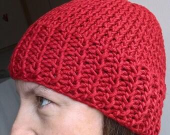Red Cotton Beanie Hat; Unisex Beanie Hat; Knitted Beanie Hat; Ladies Beanie Hat; Mens Beanie Hat