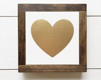 7x7   Gold Heart Mini Sign