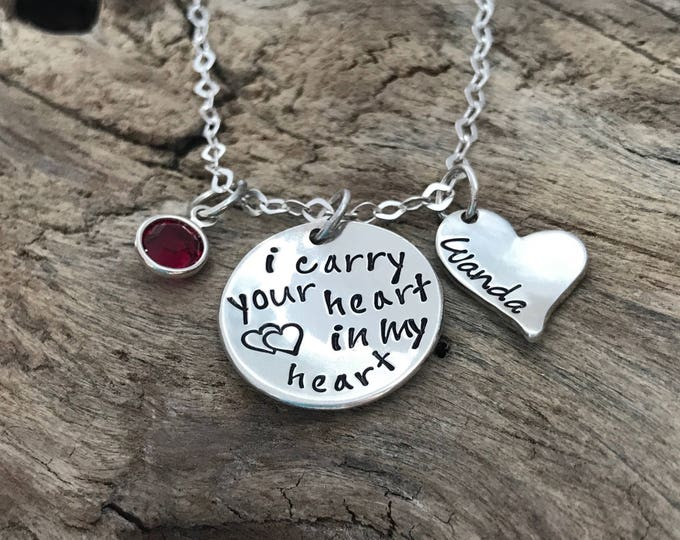 Personalized Memorial Necklace | I Carry Your Heart With Me | Loss | Remembrance | Miscarriage | Widow | Carry Heart | Memorial Jewelry