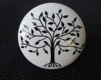 Black & White Tree of Life Ceramic Knob / Drawer Pull ~ Home Decor ~ Drawer Cabinet ~ Modern